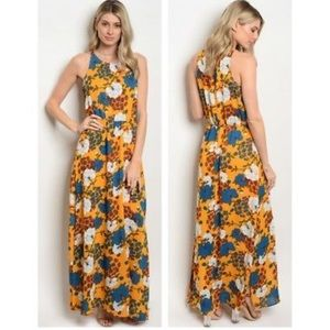 Beautiful Floral Print Smock Waist Maxi Dress